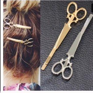 Brand New, silver scissor hair clips